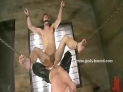 Chains Holds Tied Gay Slave In Bdsm Sex