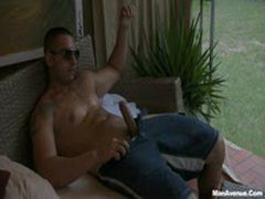Muscular Hunk Blowing Sticky Cum In Summer