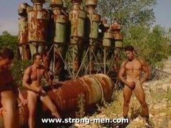 Three Muscle Hunks Masturbation